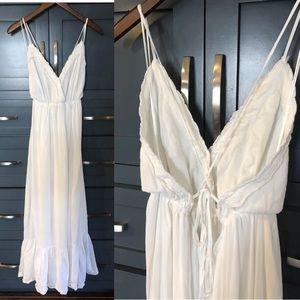 Lulus Ivory Lace Backless Maxi Dress Beach Bridal